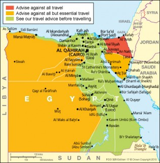 Map from FCO regarding Egypt Travel Advice